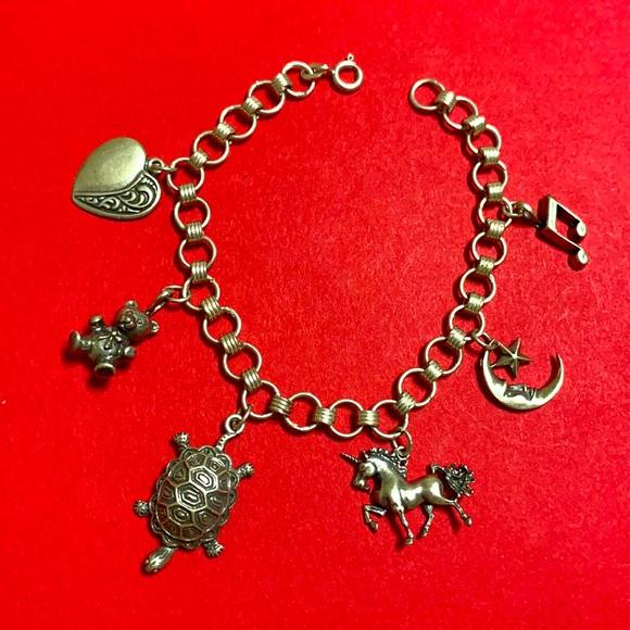 🖤Sterling Vintage Charm bracelet